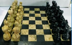 """12""""x12"""" Chess Set Black & Coral Marble Hand Made Superior Quality Carved Pieces"""