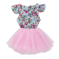 Toddler Kids Baby Girls Clothes Printing Patchwork Pageant Party Princess Dress