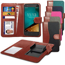 For HTC Desire Eye - Fabric Mix Clip Function Wallet Case Cover
