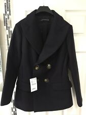 BNWTS Zara AW17/18 Short Double Breasted Navy Coat 75% Wool Extra Small XS
