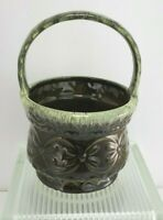Vintage Hull USA- Art Pottery- Basket Planter- Dark Olive Green- Drip- 8 1/2""