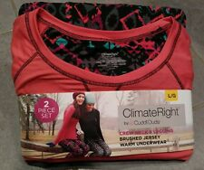 New Women's Lg 14/16 Cuddl Duds Climate Right Top & Legging Pants Underwear Set