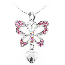 """Silver Color Butterfly and Heart Shape Pendant with Pink Crystals and 16"""" Chain"""