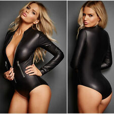 Women Skirt Sexy Leather Lingerie Latex Body Jumpsuit Motorcycle cloth Costumes
