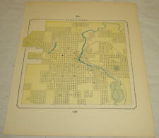 1898 COLOR MAP of SIOUX FALLS, SD, b/w LOUISVILLE, KY