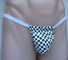 K725 Men's String Pouch Thong PVC Vinyl Black/white Checks