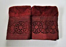 Avanti Washcloths Set Of 2 Burgundy 100% Cotton Embellished Border NEW