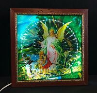 Vintage Lighted Guardian Angel Picture In Frame Angel With Children