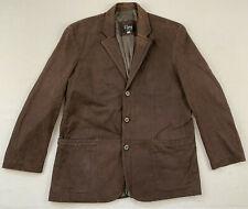 remy usa made brown genuine leather 3-button blazer coat jacket sz 42