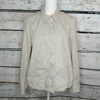 Eileen Fisher Womens Cotton Stretch Taupe Beige Button Up Blazer Jacket Large