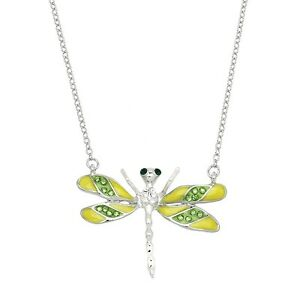 """Dragonfly Charm Pendant Necklace - Sparkling Crystal - 17"""" Chain - 4 Colors"""