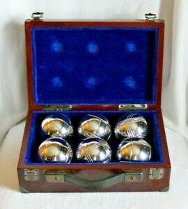VINTAGE SET OF 6 STEEL PETANQUE BALLS WITH WOODEN CASE