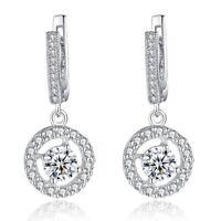 14k White Gold Filled Drop Earrings for Women Jewelry White Sapphire Earrings