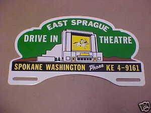 Spokane Drive In Theatre License Plate Topper 1940s - 1990s East Sprague