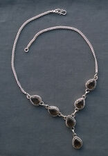 925 STERLING SILVER INDIA MADE SMOKEY TOPAZ FOCALS NECKLACE 18""