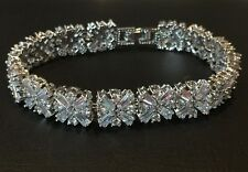 18K White Gold Tennis Bracelet made w/ Authentic Swarovski Crystal Clear Stone