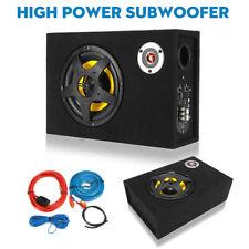 8'' 480 Watt Untersitz Aktiv Auto Subwoofer mit Kabelset kompakt Kfz DE DHL
