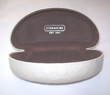 Coach Extra Large Logo Clam Shell White Eye Or Sun Glass Case with Brown lining
