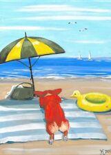 5x7 Print Of Painting Pembroke Welsh Corgi Ryta Seascape Beach Ocean Nautical