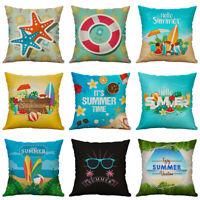 Fashion Hello Summer Beach Pillow Case Cotton Linen Cushion Cover Home Decor