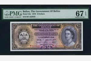 1976 BELIZE 2 Dollars PMG67 EPQ SUPERB GEM UNC [P-34c]