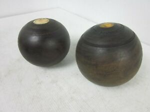 Vintage Lignum Vitae wood Lawn bowls craft woodworking Thomas Taylor Glasgow