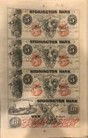 Stonington Bank, Connecticut Uncut Sheet of $5-$5-$5-$10 Remainder Banknotes