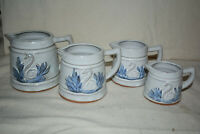 Set of 4 VIntage Crock Pitchers Measuring Cups glazed ceramic blue 4 sizes Swan