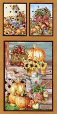 """Farmer's Market"" Panel By SPX Fabrics - Sunflowers-Pumpkins-Birdhouses-Birds"
