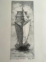 """Vntg Maritime Orig Intaglio ink Print George Gale """"Squared Away for Greenland"""""""