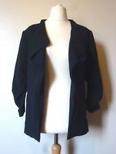 H&M 3/4 Gathered Sleeve Fitted Textured Jacket Size 12 Dark Blue