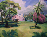 ORIGINAL ARTIST WORK HAWAII SCENE - SIMPLE CHURCH WITH PALMS FRAMED OIL PAINTING