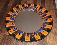 Mid Century Modern French Ceramic Wall Mirror Signed Francois Lembo