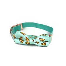 XL Dog Collar And Bowtie With A Pizza Pattern And Light Blue Background