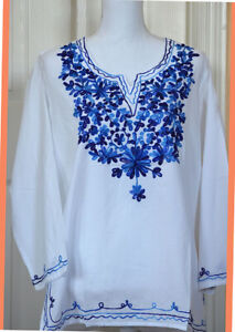 White Cotton Tunic Top Kurti with Blue Color Embroidery from India Medium Size