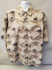 Wrangler Outdoor Gear Fishing Print Short Sleeve Button Up Shirt Mens XL