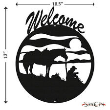 SWEN Products COFFEE BREAK HORSE COWBOY Black Metal Welcome Sign