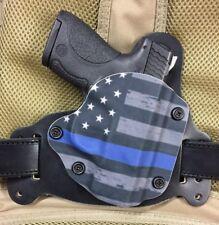 Fits Glock 19 23 19x IWB/OWB Hybrid Holster Police Thin Blue Line Kydex leather