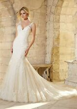 UK Latest White/ivory Lace Mermaid Wedding Dress Bridal Gown Sizes 6-22
