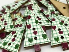 10 CUTE CHRISTMAS TREE WOOD BUTTONS 3cm X 1.5cm FOR CARDS & DECORATIONS