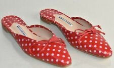 New Manolo Blahnik Ballerimu Leather Bow Mule Polka Dot Flat Shoes Red 40.5 41.5