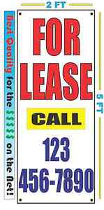 custom FOR LEASE Vertical Banner Sign NEW Larger Size Best Quality for the $$