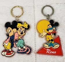 "Vintage Walt Disney Mickey & Minnie Mouse Key Chains 4"" Lot of 2"