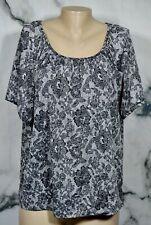 CATHY DANIELS Black White Floral Lace Print Top 1X Short Sleeves Unlined