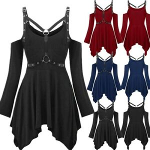 Punk Rave Gothic Mini Dress Steampunk Victorian Witch Party Swing Dress Cosplay