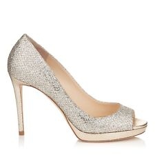 Jimmy Choo 'Luna' Brillo champán Peep Toe Stiletto Tacones Zapatos EU 36 UK 3