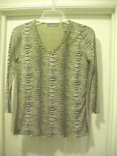 Liz Claiborne V-neck Casual Shirt Animal Print Lined 3/4 Sleeves Women's Size S