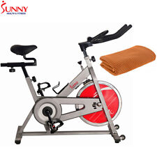 Sunny Health and Fitness Chain Drive Indoor Cycling Bike Silver w/ Cooling Towel