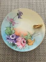 Vintage Royal EPIAG Czechoslovakia Plate Hand Painted Flowers W Gold Loop & Trim