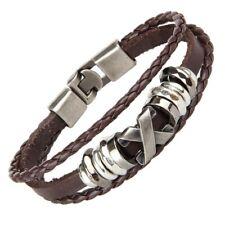 Men Punk Leather Brown Wrap Braided Wristband Cuff Punk Bracelet Bangle US